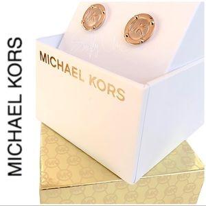 NWT authentic MK rose gold tone logo stud earrings